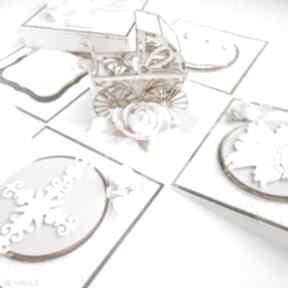 Exploding box wózek scrapbooking kartki biala konwalia kartka