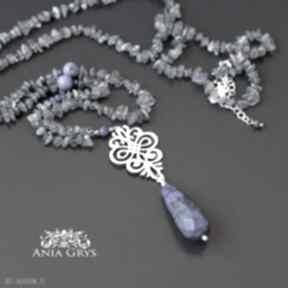 Anna Grys: naszyjnik rozeta lapis-lazuli labradoryt jedwabny