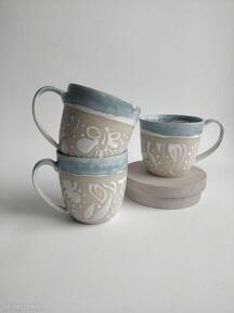 Trzy kubki ceramiczne ceramika kate maciukajc kubek, kubek