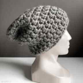 Ręcznie robiona czapka chunky szary brąz hand made czapki