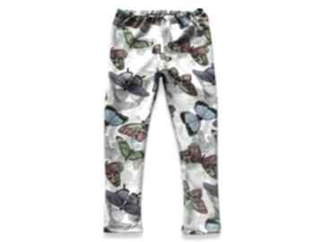 Motyle kremowo-szare legginsy z kolorowymi motylkami, spodnie