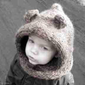 Niedźwiedź brunatny dziane tuba, szalik, komin, czapka, kaptur,