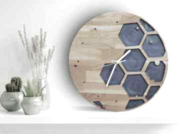 Zegar ścienny z drewna dębowego, żywica, sześcian zegary mymetal