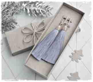 Święta upominek! Szafirowe chwosty - długie kolczyki wrzosowisko