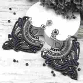 Duże, eleganckie kolczyki granatowo - srebrne kameleon ażurowe