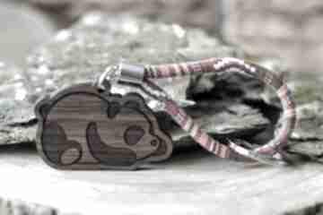 Brelok do kluczy boho panda z drewna orzech aztekoo breloki