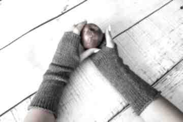 Mitenki szare rękawiczki hermina z-wełny, wełniane, prezent