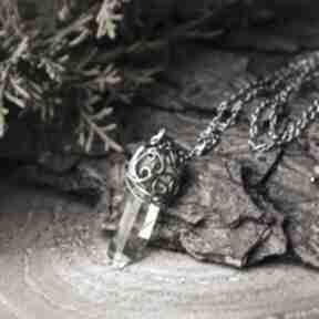 Wisiorek talizman kryształ górski, stal chirurgiczna, wire