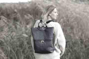 Plecak torba 2 w 1 z granatowej skóry ekologicznej bags