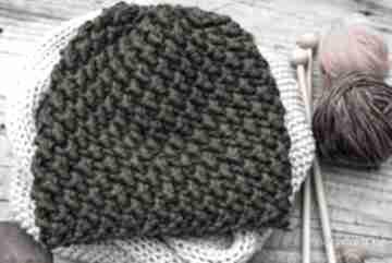 Czapka handmade - militarna zieleń czapki hermina hand made