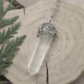 Wisiorek talizman surowy duży sopel kryształ górski wire
