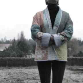 Płaszcz patchworkowy krótki boho - waciak kimonowy płaszcze