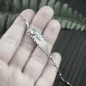 Bransoletka liść paproci z kamieniem księzycowym pracownia
