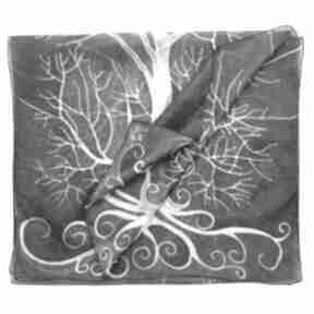 Ciemnozielony szal jedwabny z białym drzewem chustki i apaszki