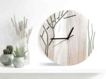 Zegar z drewna dębowego, żywica, drzewko, natura, wzór nr 2