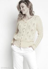Ażurowy wiosenny sweterek, swe47 żółty mkm swetry swterek