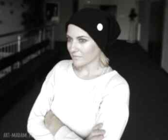 Czarna zimowa czapka damsko-męska handmade czapki ruda klara