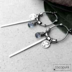 Srebro i kwarc - kolczyki wiszące boho cocopunk oryginalne