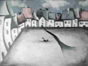 Bajkowe miasteczko-obraz akrylowy paulina lebida miasteczko