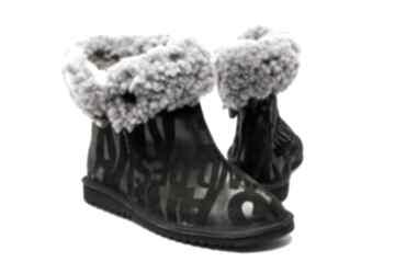 Buty enoo swarne folkowe, ciepłe, skórzane, naturalne