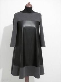 Sukienka - 9 sukienki lalu sukienka, sukienki, dzianina, skóra