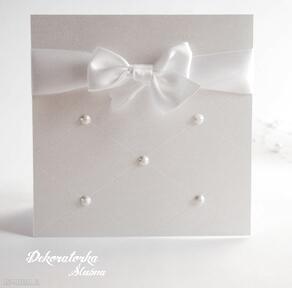 Perłowe eleganckie zaproszenie ślubne zaproszenia dekoratorka