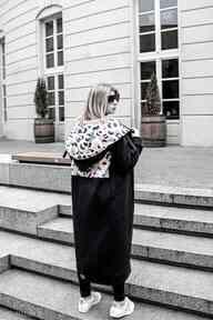 Mega długa bluza nepal czarny płaszcze ekoszale płaszcz