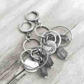 Iolit i srebrne koła kolczyki wiszące grey line project iolit