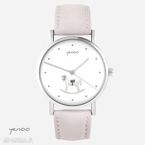 Zegarek - konik na biegunach skórzany, pudrowy róż zegarki yenoo