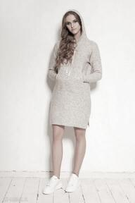 Dzianinowa sukienka - swe141 beż swetry lanti urban fashion