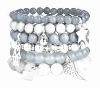 Zestaw modowych bransoletek white blue kamienie perŁy krysztaŁy