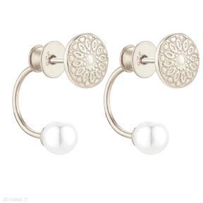 Złote kolczyki medaliony z perłami swarovski® crystal sotho