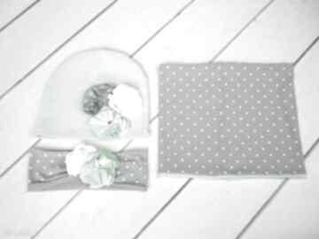 Cienki komplet dla dziewczynki czapka komin opaska chusta okazja