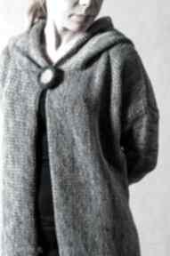 Szary melanżowy rozpinany sweter z kapturem swetry hermina szary