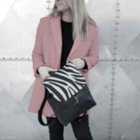 Plecak czarna eco skóra z zebrą godeco plecak, pojemny, zebra
