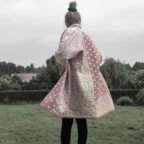 Płaszcz patchworkowy w stylu boho, długi, kimonowy - waciak