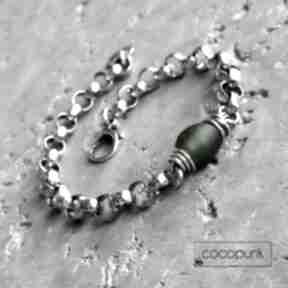 Masywna bransoleta - srebro 925 i szkło z ghany cocopunk
