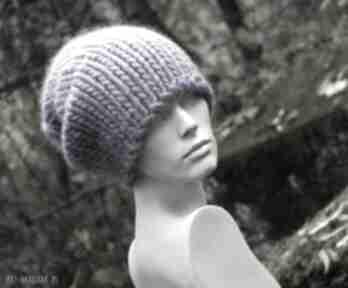 Syberianka lilac 100% wool grubaśna czapa czapki aga made by