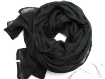 Lniany szal chusta w kolorze czarnym, uniwersalny duży damski