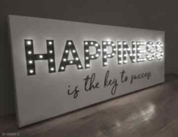 Obraz led z cytatem happiness is the key to success napis litery