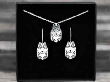 Siberian husky - komplet srebrny pr 925 pasja i pedzlem husky