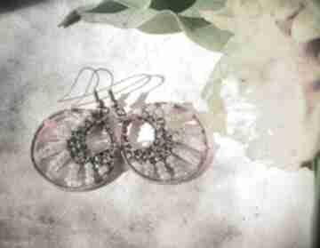 Ombre różu szarości kolczyki koralików miedzi pajęczyna seeds