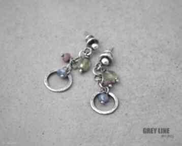 Małe kolorowe grey line project srebro, apatyt, rubin,