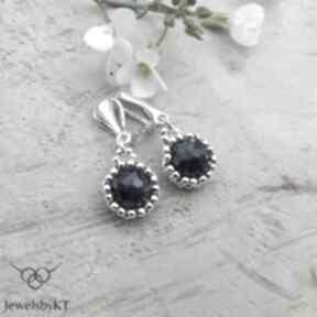Koronkowe iolity - klipsy jewelsbykt srebrne klipsy, biżuteria
