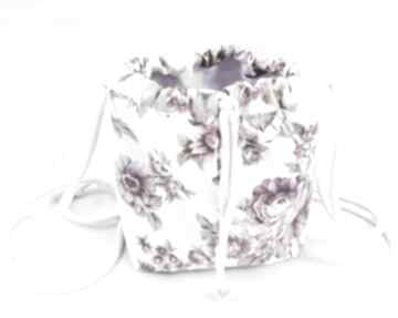 Torebka sakiewka worek vintage kwiaty mini zapetlona nitka