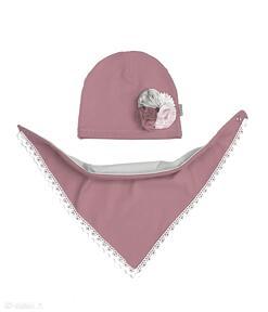 Cienki komplet dla dziewczynki czapka chusta dresówka jesień