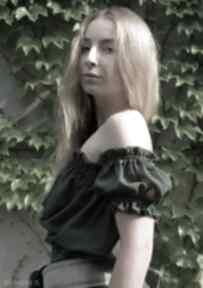 Szyfonowa bluzka - butelkowa zieleń bluzki barska bluzka