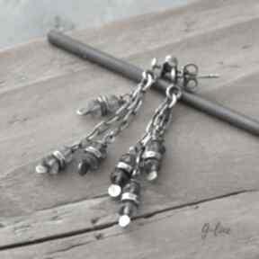 Szafir wodny wiszące srebrne kolczyki na sztyftach grey line
