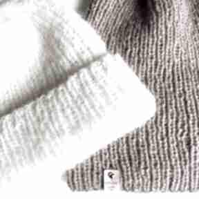 Ręcznie robiona czapka hand made alpaka z merynosem ecru 01
