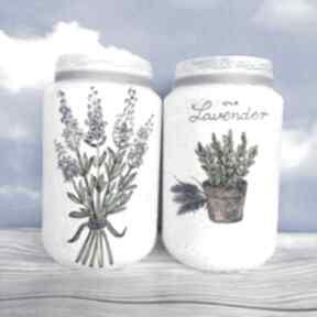 Dekoracja stylu prowansalskim komplet dwóch szklanych słoiczków